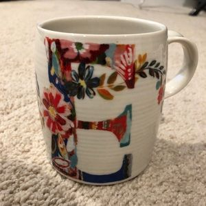 Anthropologie Petal Palette Monogram E Coffee Mug